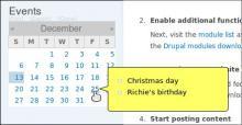 Calendar Tooltips example screenshot