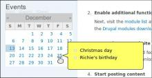 Calendar Tooltips example screenshot