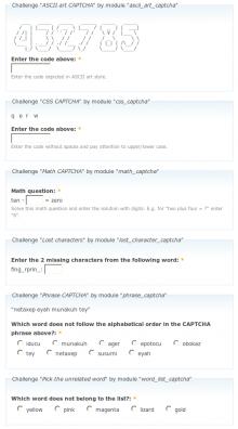 CAPTCHA Pack examples
