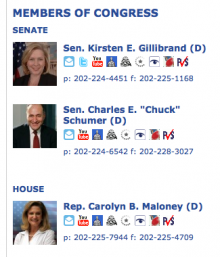 CiviCRM Sunlight Congressional District's Views integration showing my members of Congress.