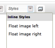 The CKEditor styles dropdown
