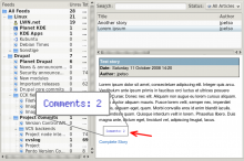 A Comment Count Image enabled feed, shown in Akregator.