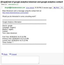 Google Analytics information appended to the bottom of a Contact Form email