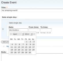 Date single day screenshot
