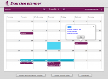 Exercise 2.0 calender screenshot
