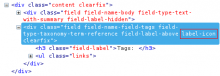 Example of HTML markup produced by Field formatter class module. The custom class is highlighted on the field wrapper DIV.