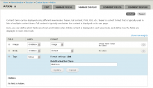 Field formatter class settings on the manage-display tab, showing a custom class being added to a term reference field.