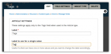 Field edit page with Field label plurals