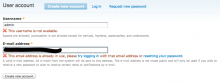 An example of a user registration form.