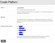 Platform creation form