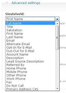 Select the SugarCRM field for each inputfield
