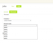 Profile Locality user edit view.