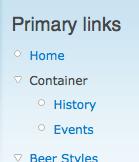 Screenshot of a menu item container in a menu block