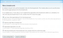 menu breadcrumb settings screen
