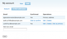 E-mail addresses configuration page