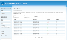 User Balance sheet, with UI tools to add custom credits and debits