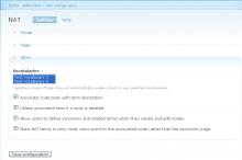 Nat module configuration page