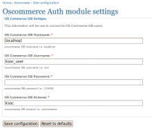 osCommerse Authentication Settings
