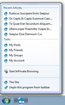 Pinned Site on the Taskbar (Screenshot)