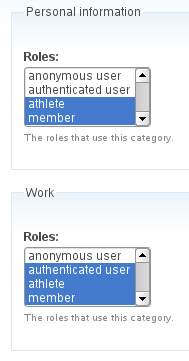 Profile field category role relation administration page.