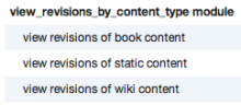 Sample permissions provided by the view_revisions_by_content_type module