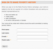 Petition for Make Poverty History created with the Connect module