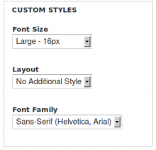 Example of css options on theme settings page