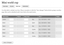 The module in action—displaying a form for submitting bets.
