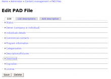 Screenshot of the main PAD File Editor