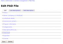 Screenshot of the main PAD File Editor