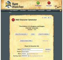 D&D Character Generator on the Turn Watcher website