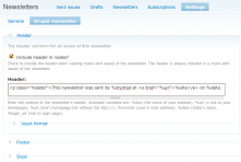 Settings provided by the Simplenews Template module in addition to themable templates.
