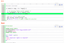 Screenshot of syntaxhighlighter in action