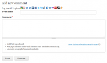 Comment form with Loginza widget integrated