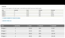 Input Widget > Table Display