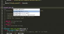Sublime Text 2 with Drupal autocompletions.