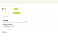 Profile location user edit page.