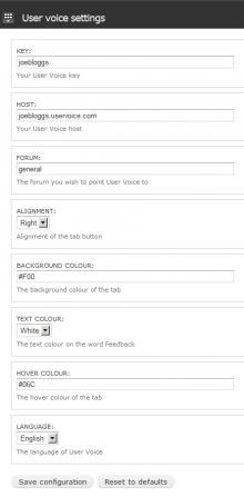 User Voice settings