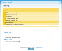 View variables on admin/watchbug with devel's krumo style output