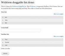 Webform draggable list