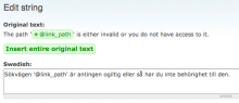 Improved usability of the string translation form by making placeholders clickable for quick insertion.