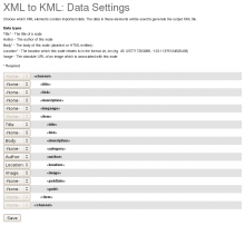 XML to KML: Data Settings