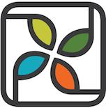 Polycot Associates logo - a rounded black square surrounding 4 uniquely colored leaves/petals