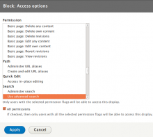 Views Access Multiple Permissions Settings