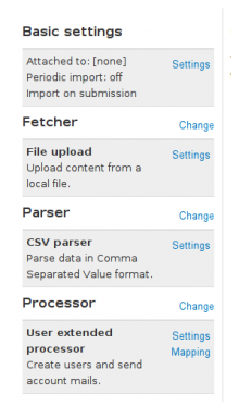 Screenshot of the settings page of an importer showing the UserExtendedProcessor
