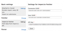 Settings for import.io Fetcher