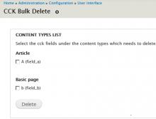 CCK field Bulk delete