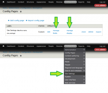 Configure and access created config page