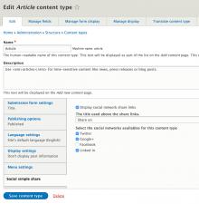 Social simple settings per content type