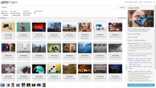 Getty Images module - Search screenshot